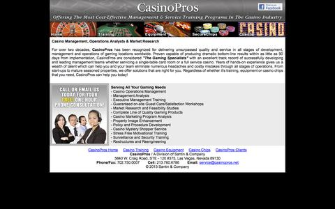 Screenshot of Home Page casinopros.net - Casino Management, Operations Analysis and Training - captured Sept. 29, 2014