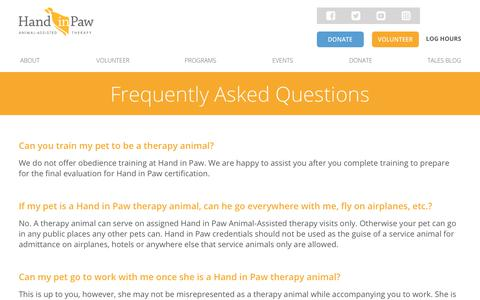 Screenshot of FAQ Page handinpaw.org - Hand in Paw »   Frequently Asked Questions - captured Nov. 4, 2018