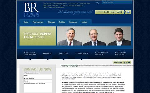 Screenshot of Privacy Page brsglaw.com - Privacy Policy | Bromberg Rosenthal LLC | Rockville Maryland - captured Oct. 5, 2014