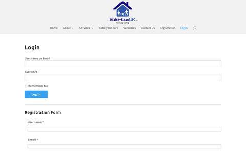 Screenshot of Login Page safehaus-uk.co.uk - Login   Safe Haus Website - captured Nov. 18, 2016