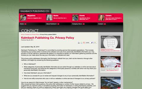 Screenshot of Privacy Page kalmbach.com - Kalmbach Publishing Co. - Privacy Policy updated 052014 - captured Sept. 19, 2014
