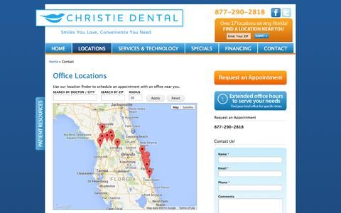 Screenshot of Contact Page Locations Page christiedental.com - Office Locations   Christie Dental - captured Oct. 22, 2014
