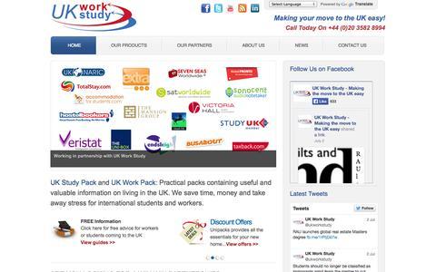 Screenshot of Home Page uk-work-study.com - Working In UK | Work And Study In UK | UK Work Study Packs - captured Sept. 17, 2014