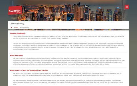 Screenshot of Privacy Page directflights.com - Privacy Policy, Direct Flights, Cheap Flight - captured Sept. 27, 2018