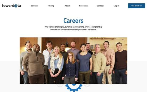 Screenshot of Jobs Page towerdata.com - Technology Jobs - Explore Career Opportunities at TowerData - captured March 20, 2019