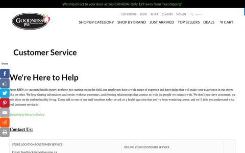 Screenshot of Support Page goodnessme.ca - Customer Service - Goodness Me! - captured Nov. 12, 2016