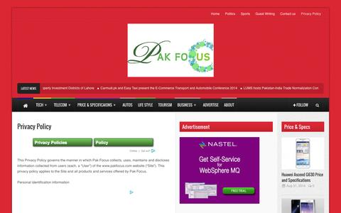 Screenshot of Privacy Page pakfocus.com - Privacy Policy | Pakfocus - captured Oct. 27, 2014