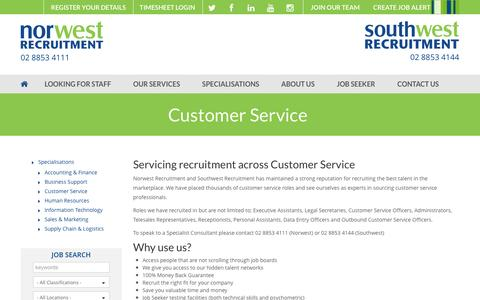 Screenshot of Support Page norwestrecruitment.com.au - Customer Service | Norwest and Southwest Recruitment - captured Dec. 11, 2016