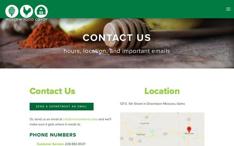 Screenshot of Contact Page moscowfood.coop - Contact Us — Moscow Food Co-op - captured Oct. 20, 2018