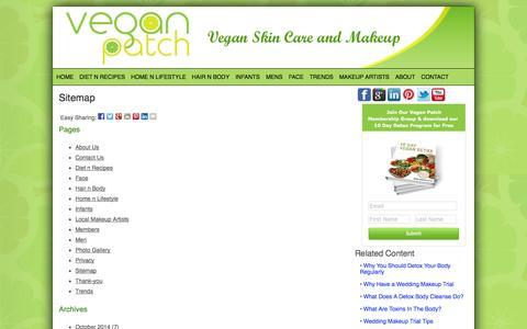 Screenshot of Site Map Page veganpatch.com - Sitemap - Vegan Patch - captured Oct. 27, 2014