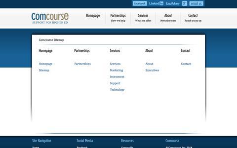 Screenshot of Site Map Page comcourse.com - Comcourse | Support for Higher Education | Sitemap - captured Sept. 30, 2014