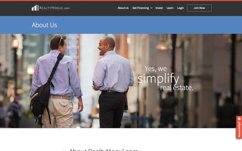 Screenshot of About Page realtymogul.com - About Us | Realty Mogul | Passive Investing - captured Nov. 23, 2015