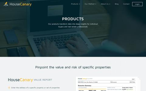 Screenshot of Products Page housecanary.com - Products - captured Nov. 13, 2016