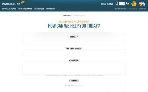 Screenshot of Contact Page zendesk.com - Endurance - captured June 14, 2016