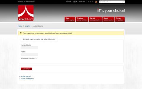Screenshot of Login Page smartchoice.ro - Autentificare - captured Oct. 3, 2014