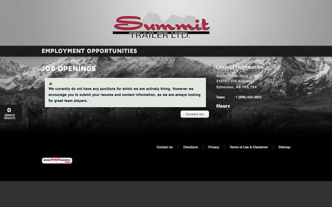Screenshot of Jobs Page summittrailer.ca - Summit Trailer Group | Inventory for sale in Edmonton, AB T5S 1X4 - captured Feb. 16, 2016