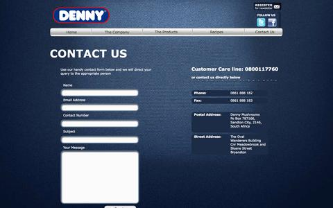 Screenshot of Privacy Page Contact Page denny.co.za - Contact Us | Denny Mushrooms - captured Oct. 23, 2014