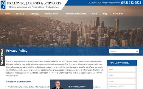 Screenshot of Privacy Page kjs-law.com - Privacy Policy | Kralovec, Jambois & Schwartz | KJS Law - captured Sept. 24, 2018