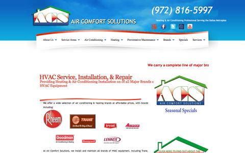 Screenshot of Products Page acsolutionstx.com - Air Conditioning & Heating Equipment | Trane - Carrier - Amana - Rheem - Goodman - Ruud - Mitsubishi - Bryant - Lennox - captured Feb. 5, 2016