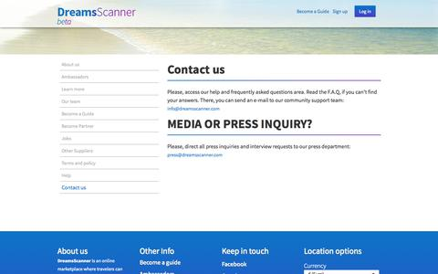Screenshot of Contact Page dreamsscanner.com - DreamsScanner - captured Oct. 5, 2014