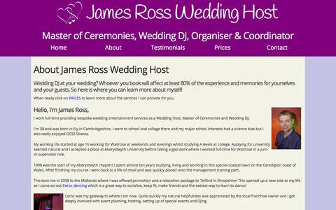 Screenshot of About Page jamesrossdj.com - About James Ross - Your Master of Ceremonies & Wedding DJ - captured Sept. 20, 2018