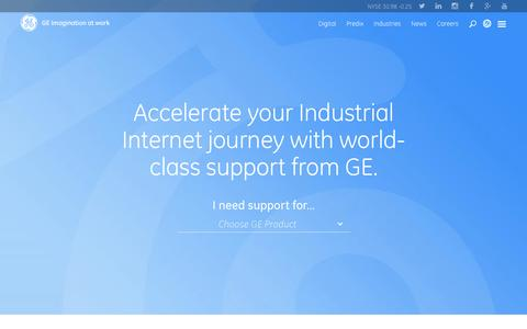 Screenshot of Support Page ge.com - Support | GE Digital - captured April 6, 2016