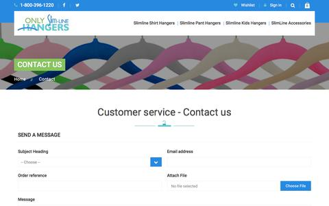 Screenshot of Contact Page FAQ Page onlyslimlinehangers.com - Contact us - Only Slimline Hangers - captured July 9, 2018