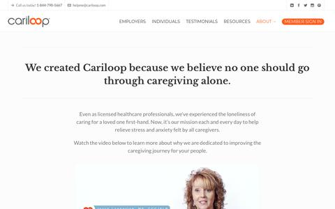 Screenshot of About Page cariloop.com - Cariloop: Learn more about why we exist and the individuals that drive us - captured July 12, 2018
