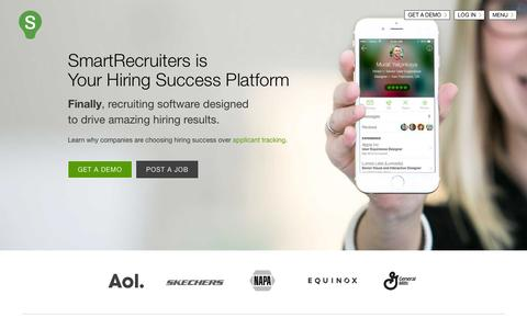 Screenshot of Home Page smartrecruiters.com - Hiring Success Platform   Applicant Tracking System   Recruiting Software - captured July 24, 2015