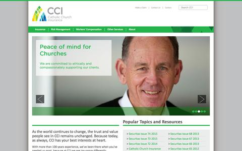 Screenshot of Home Page ccinsurance.org.au - Catholic Church Insurance - Home Page - captured Sept. 6, 2015
