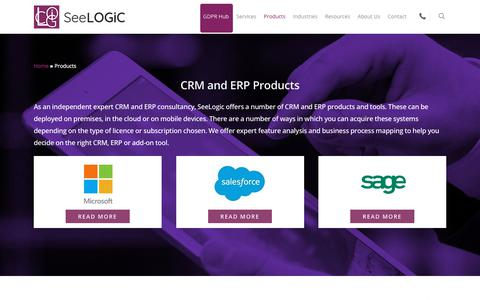 Screenshot of Products Page seelogic.co.uk - SeeLogic | Independent Expert Advice on CRM and ERP Products - captured Sept. 25, 2018