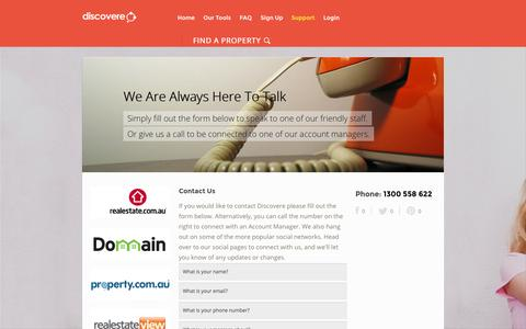 Screenshot of Support Page discovere.com.au - Contact Discovere and Start Selling Your Own Home - captured Oct. 5, 2014