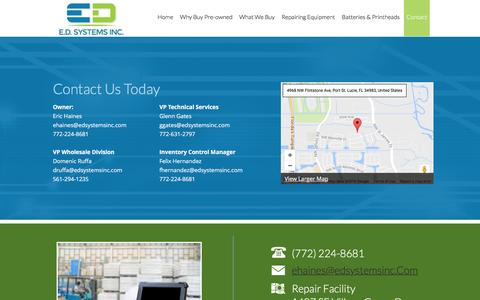 Screenshot of Contact Page edsystemsinc.com - Contact - captured Sept. 30, 2016