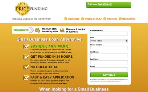 Screenshot of Landing Page pricefunding.com - Working Capital Alternative for your small business   Price Funding - captured Oct. 27, 2014