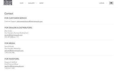 Screenshot of Contact Page clearviewaudio.com - Contact ClearView Audio                             ClearView Audio - captured Oct. 30, 2014