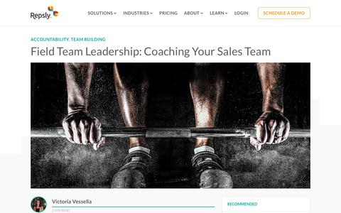 Screenshot of Team Page repsly.com - Field Team Leadership: Coaching Your Sales Team - captured Feb. 11, 2019