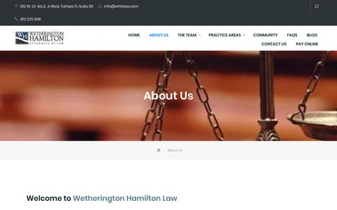 Screenshot of About Page whhlaw.com - Tampa law firm - captured Nov. 18, 2018