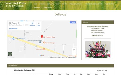 Screenshot of Maps & Directions Page foosfuneral.com - Foos and Foos Funeral Service | Bellevue OH funeral home and cremation, Foos Funeral Home and Cremation Service | Clyde OH funeral Home and Cremation, Northern Ohio Monuments | Monuments and markers - captured Oct. 10, 2018