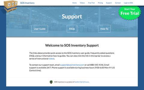 Screenshot of Support Page sosinventory.com - SOS Inventory - Support - SOS Inventory - captured June 29, 2017