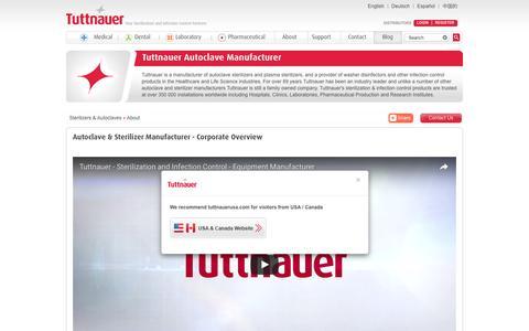 Screenshot of About Page tuttnauer.com - Autoclave Manufacturer & Sterilizer Manufacturer for Infection Control | Tuttnauer - captured Aug. 16, 2016