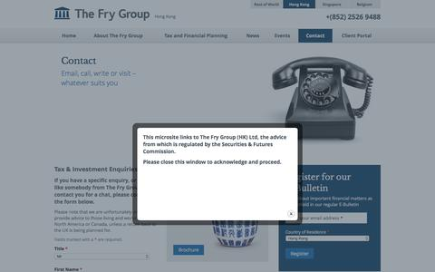 Screenshot of Contact Page thefrygroup.hk - Tax & Financial Planning - Tax & Financial Planning for UK Expatriates in Hong Kong - captured March 8, 2016