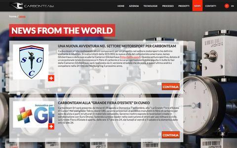 Screenshot of Press Page carbonteam.it - Lavorazione materiali compositi | Fibra carbonio| Carbonteam - captured Oct. 22, 2014