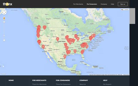 Screenshot of Locations Page thanx.com - Thanx | The Rewards Card Without The Card - captured Sept. 13, 2014