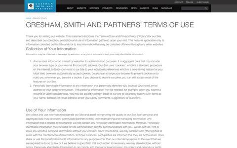 Screenshot of Privacy Page greshamsmith.com - Privacy Policy | Gresham, Smith and Partners - captured Nov. 2, 2014