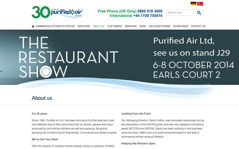 Screenshot of About Page purifiedair.com - Purified Air experts in commercial kitchen extract filtration & air conditioning - Purified Air - captured Sept. 30, 2014