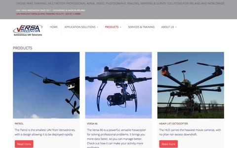 Screenshot of Products Page versadrones.com - Products   Versadrones.com - Irish-engineered drone systems - captured Feb. 24, 2016