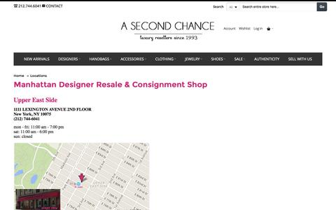 Screenshot of Locations Page asecondchanceresale.com - NYC Designer Resale & Consignment Shop   A Second Chance - captured July 13, 2016