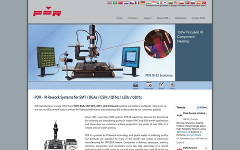 Screenshot of Home Page pdr-rework.com - PDR IR - BGA Rework Stations / Systems for SMT / BGA / CSP / QFN / LED Rework - captured Sept. 26, 2014