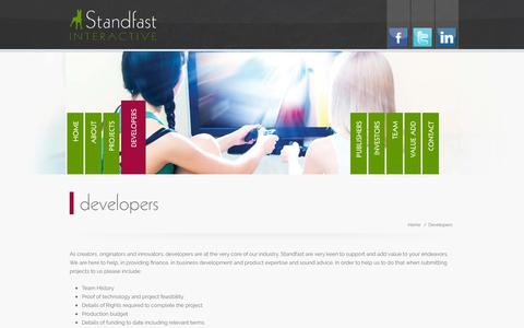 Screenshot of Developers Page standfastinteractive.com - Developers | Standfast Interactive - captured Sept. 21, 2018