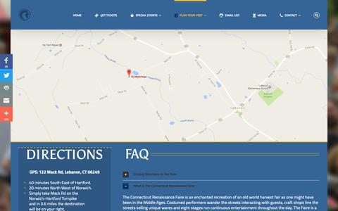 Screenshot of FAQ Page Maps & Directions Page ctfaire.com - Directions & FAQ – The Connecticut Renaissance Faire - captured Oct. 26, 2018